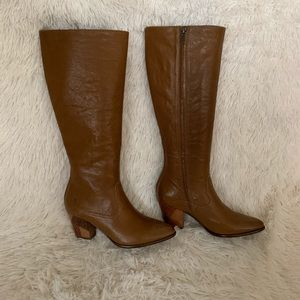 Frye Tall Zip Heeled Leather Boots